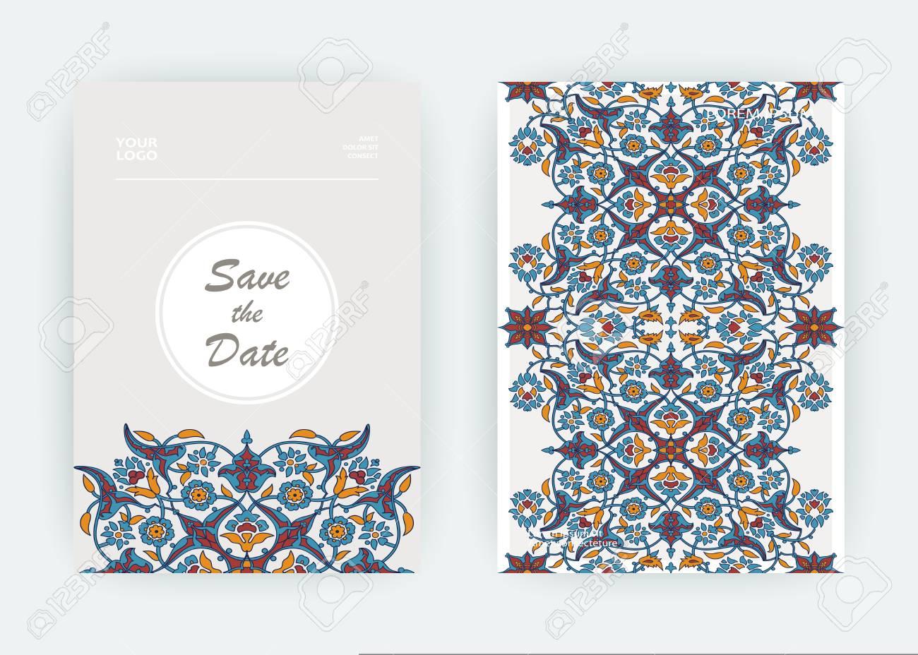 Arabesque Floral Decoration Print Border Design Template Vector