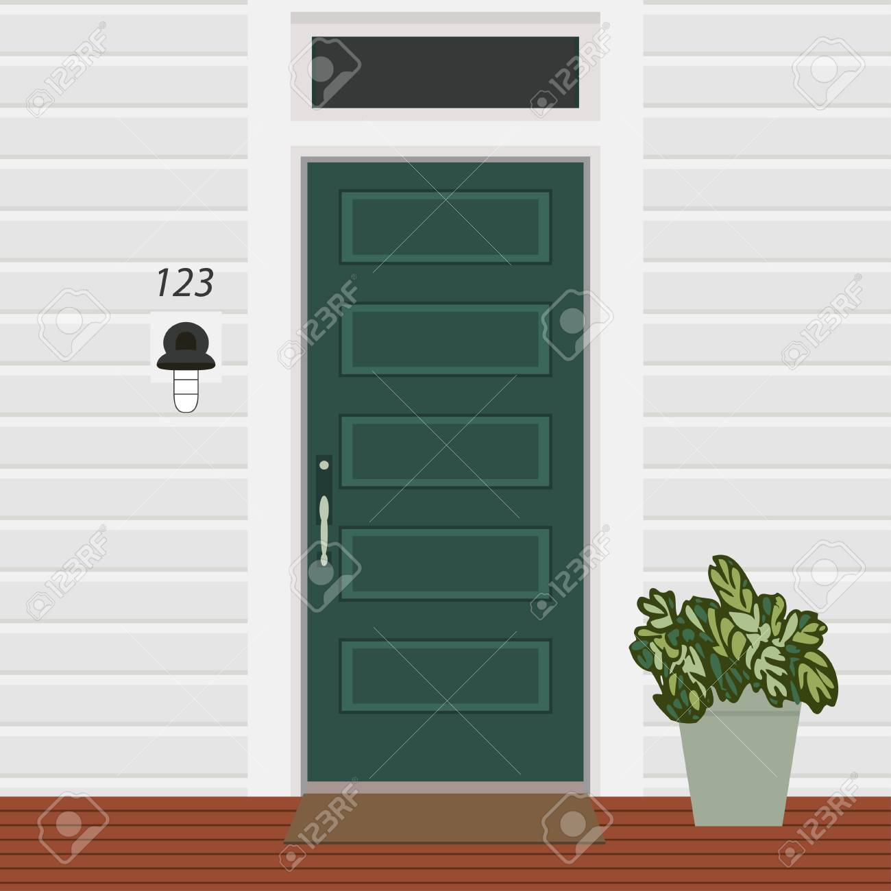 House Door Front With Doorstep And Mat Lamp Flowers Building