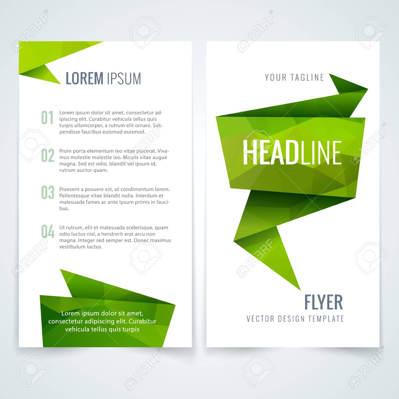 Vector Business Flyer Or Brochure Layout Template With Green