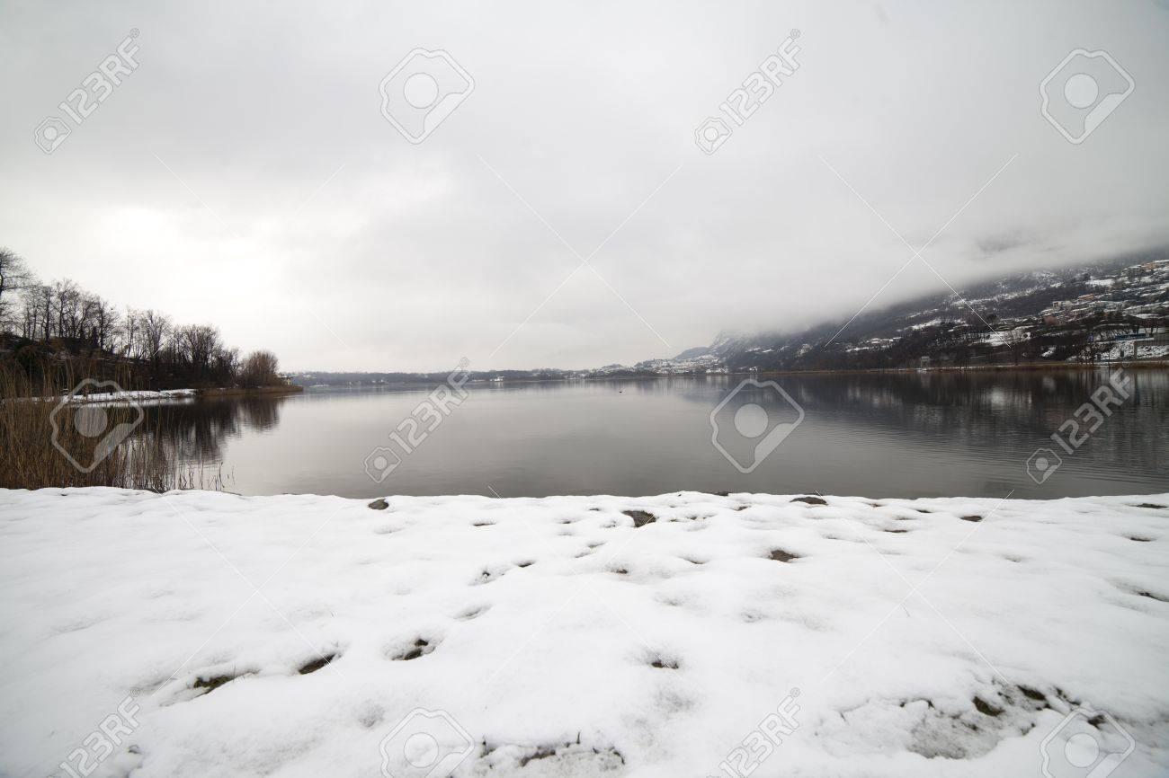 lake under the snow, Lecco Stock Photo - 18555801