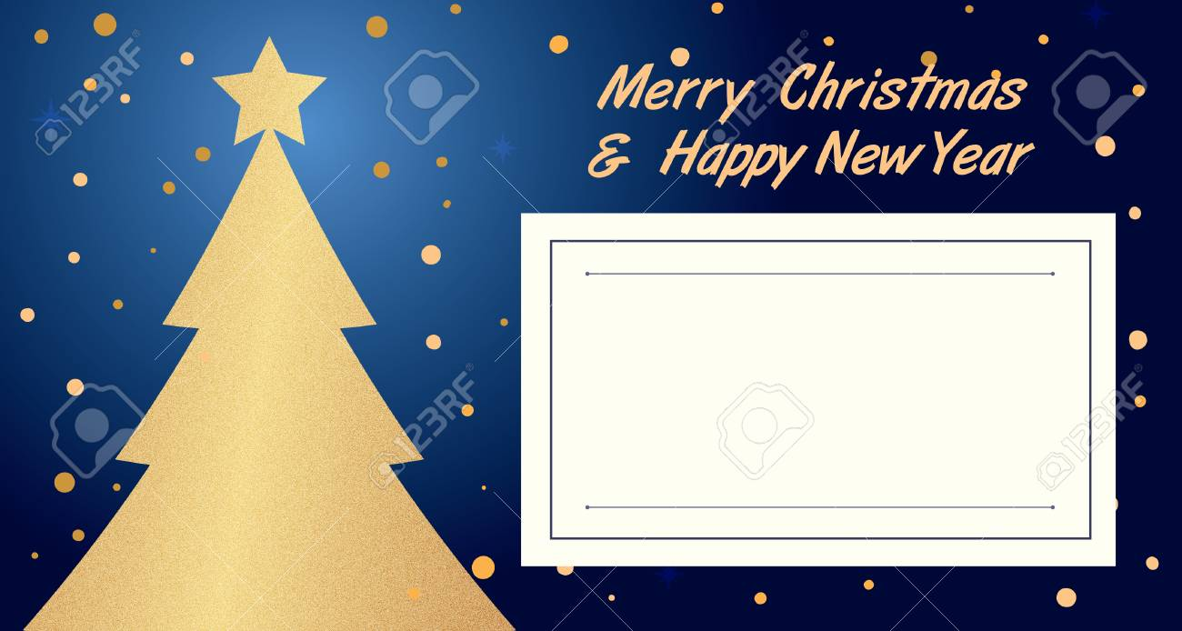 Dark Blue Christmas And New Year Party Invitation Card