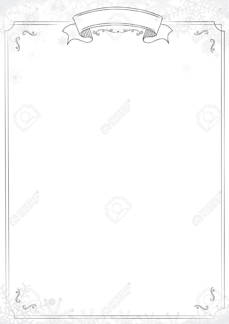 サイズ カフェ メニュー白背景が古典的な枠線で冬の雪の結晶 雪のイラストのイラスト素材 ベクタ Image