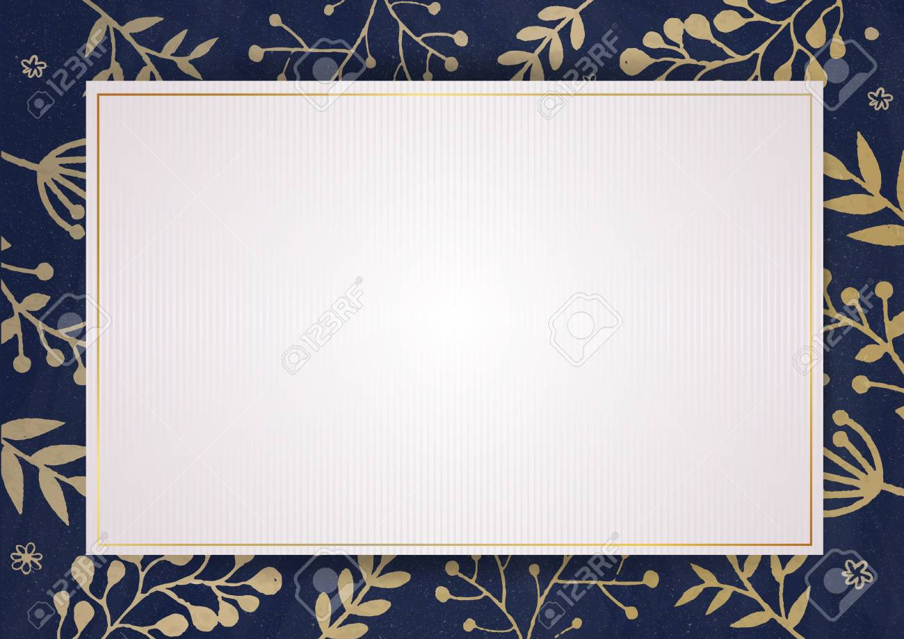 A4 Document Size Elegant Invitation Card With Florals Border