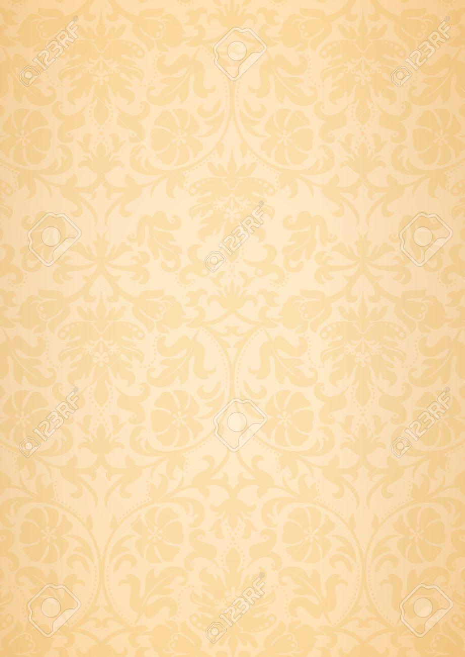 A3 と サイズ ベージュのクラシックなフラワー パターンの壁紙背景のイラスト素材 ベクタ Image