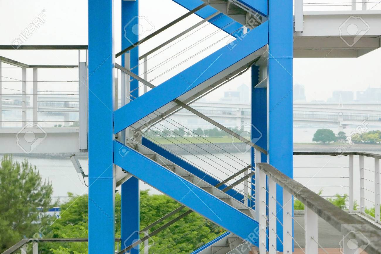 Blue Side Outdoor Staircases, Park Island And Tokyo Bay Stock Photo    58618691