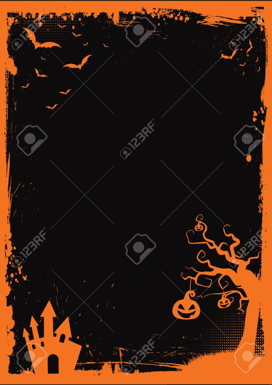 a3 international paper size halloween element with border and