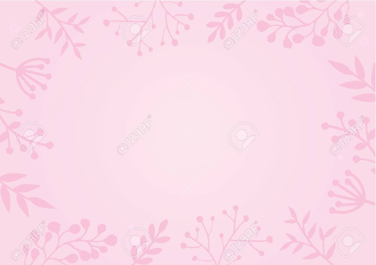 A4 Document Size Pastel Pink Color Background With Flower Border