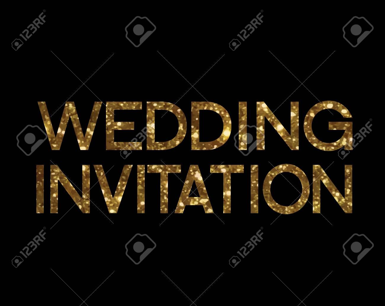 The Golden glitter isolated standard font word WEDDING INVITATION