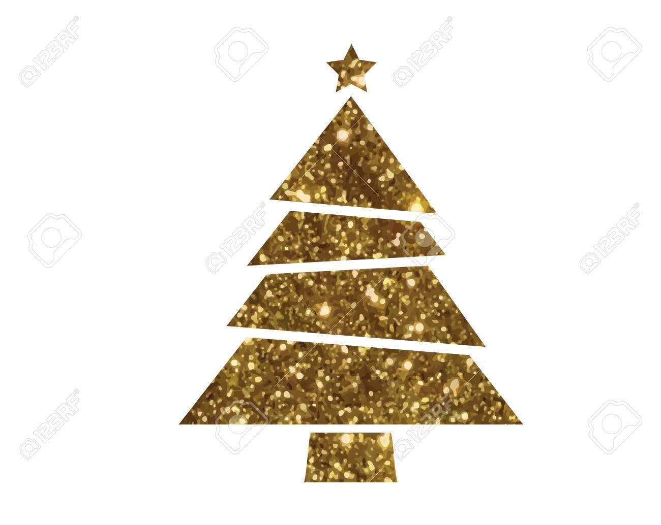 Isolated Vector Golden Glitter Christmas Tree Flat Icon