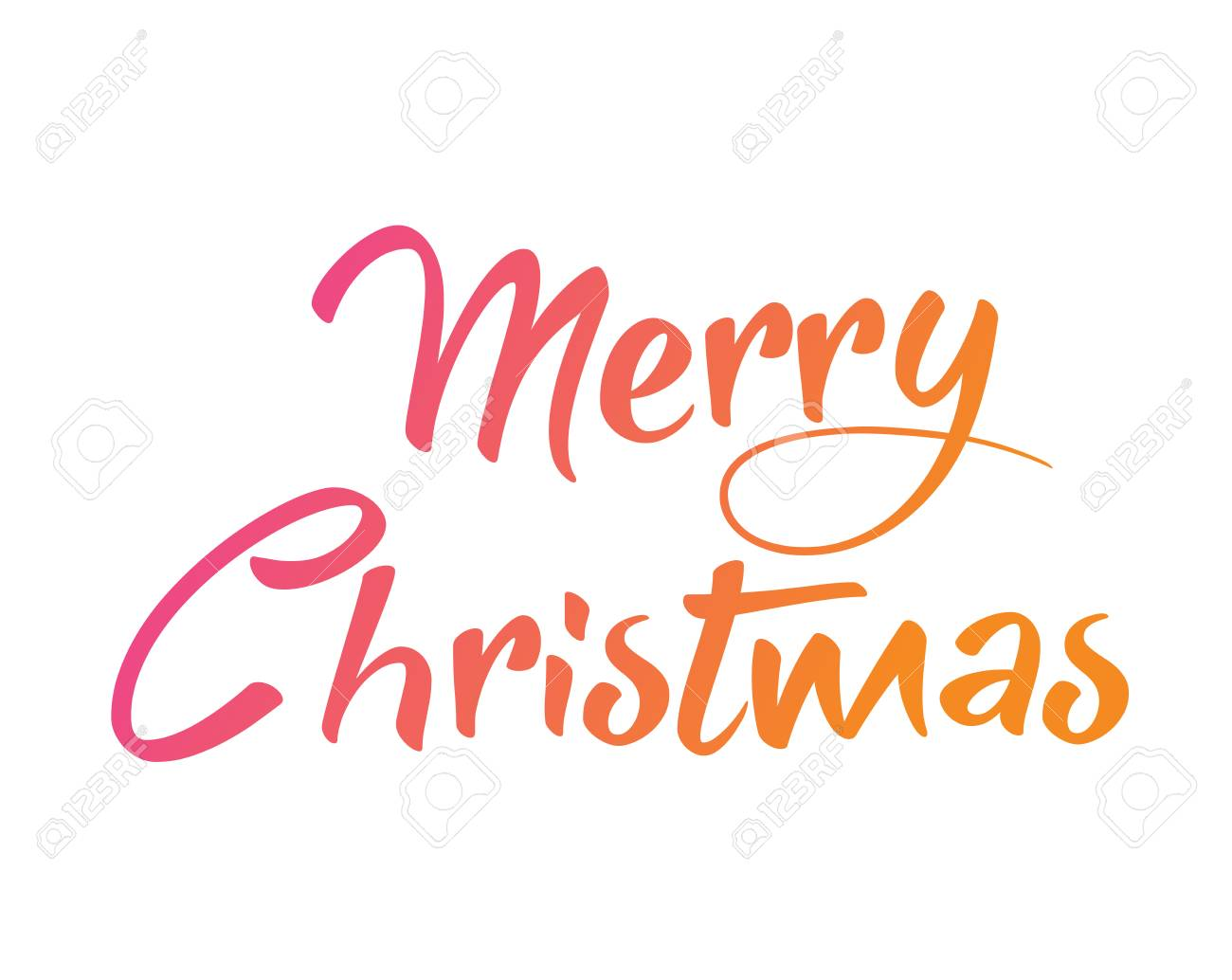 Merry Christmas Writing Clipart.The Gradient Isolated Hand Writing Word Merry Christmas On White