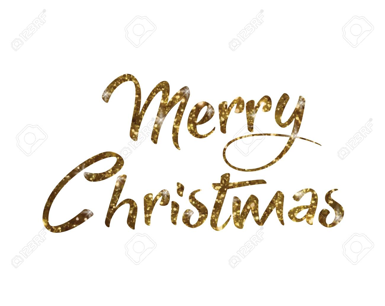 Merry Christmas Writing.The Golden Glitter Isolated Hand Writing Word Merry Christmas