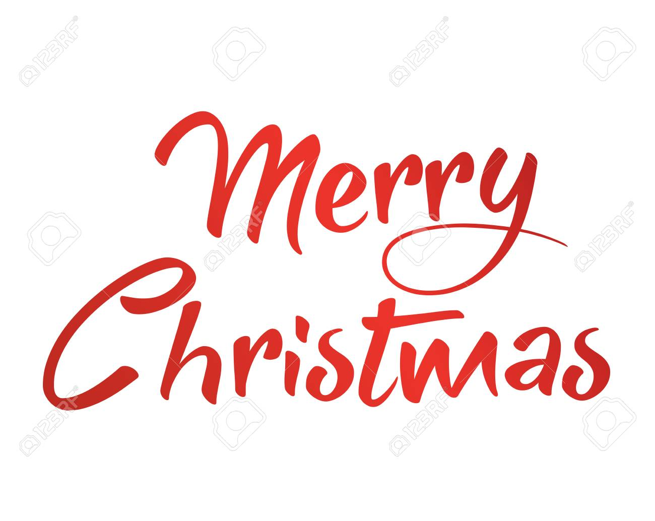 Merry Christmas Writing.The Gradient Red Isolated Hand Writing Word Merry Christmas On