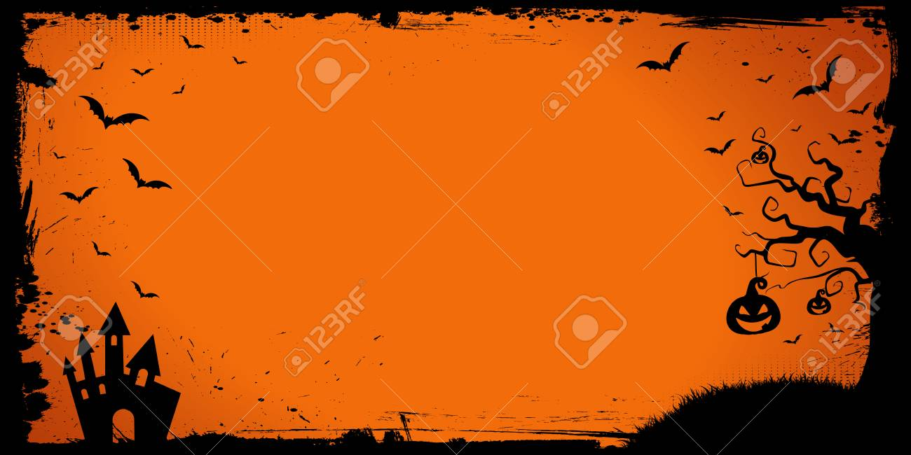 The Halloween Banner Template With Pumpkin, Scary House And Flying ...