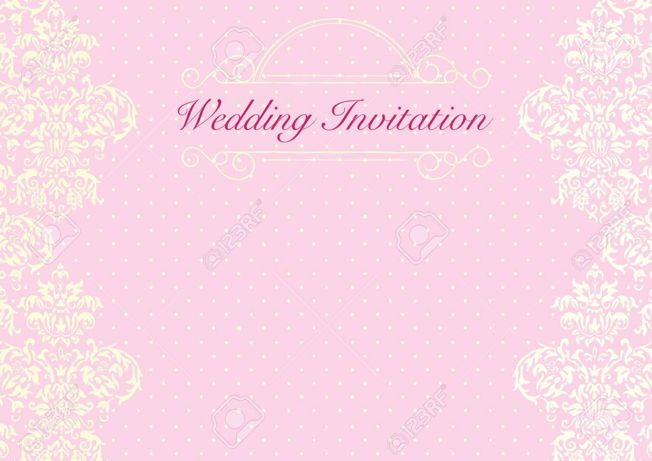 The Pink Wedding Invitation Card Background Template With Yellow ...