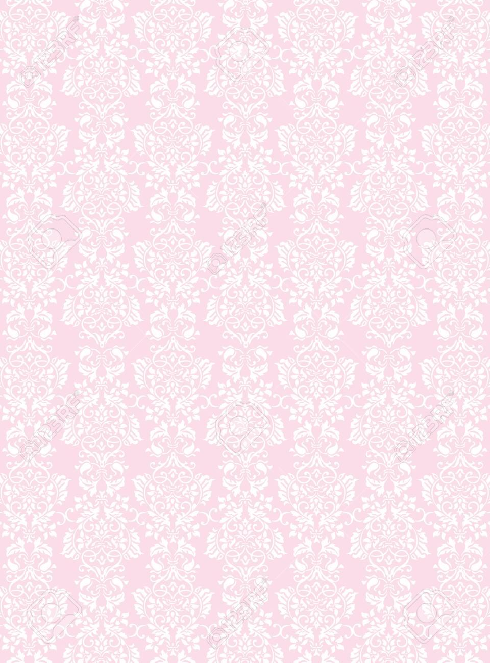 A3 Size Elegant White Flowers Pattern Textured Pink Wallpaper