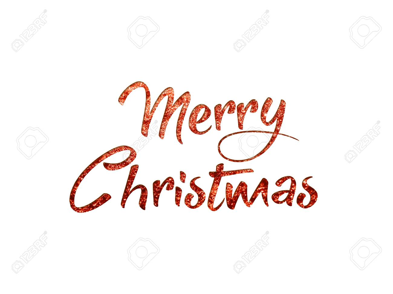 Merry Christmas Writing.The Red Glitter Isolated Hand Writing Word Merry Christmas N