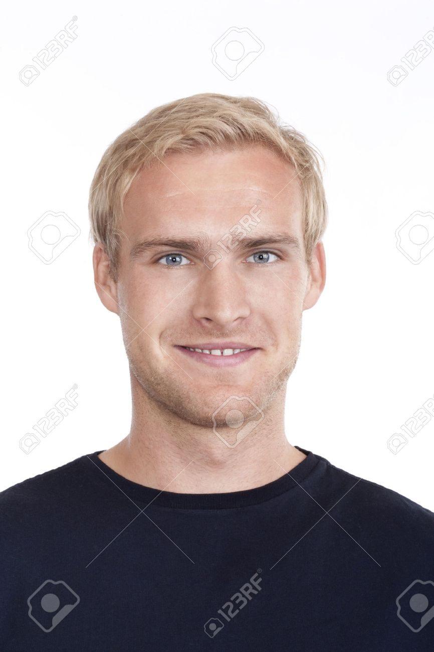 portrait of a young man with blond hair and blue eyes - isolated on white Stock Photo - 10291319