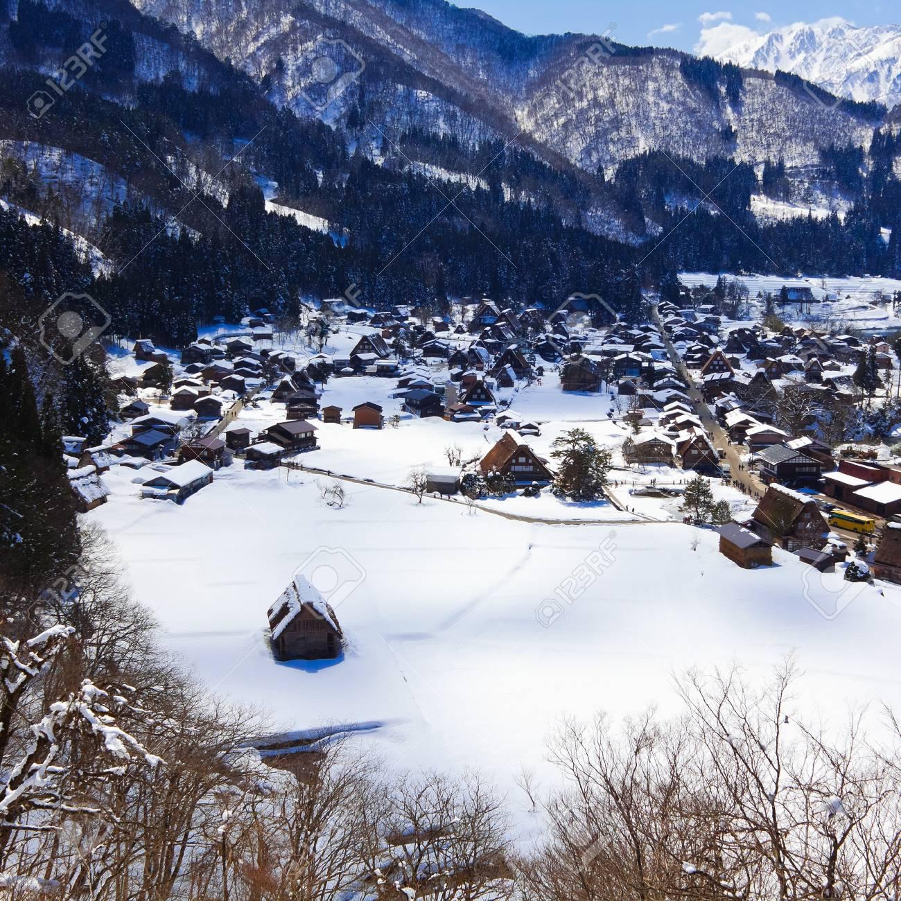 View from the Shiroyama Viewpoint at Gassho-zukuri Village Shirakawago Stock Photo - 14235216