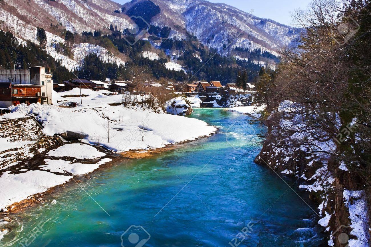 River at Gassho-zukuri Village Shirakawago Stock Photo - 14465585