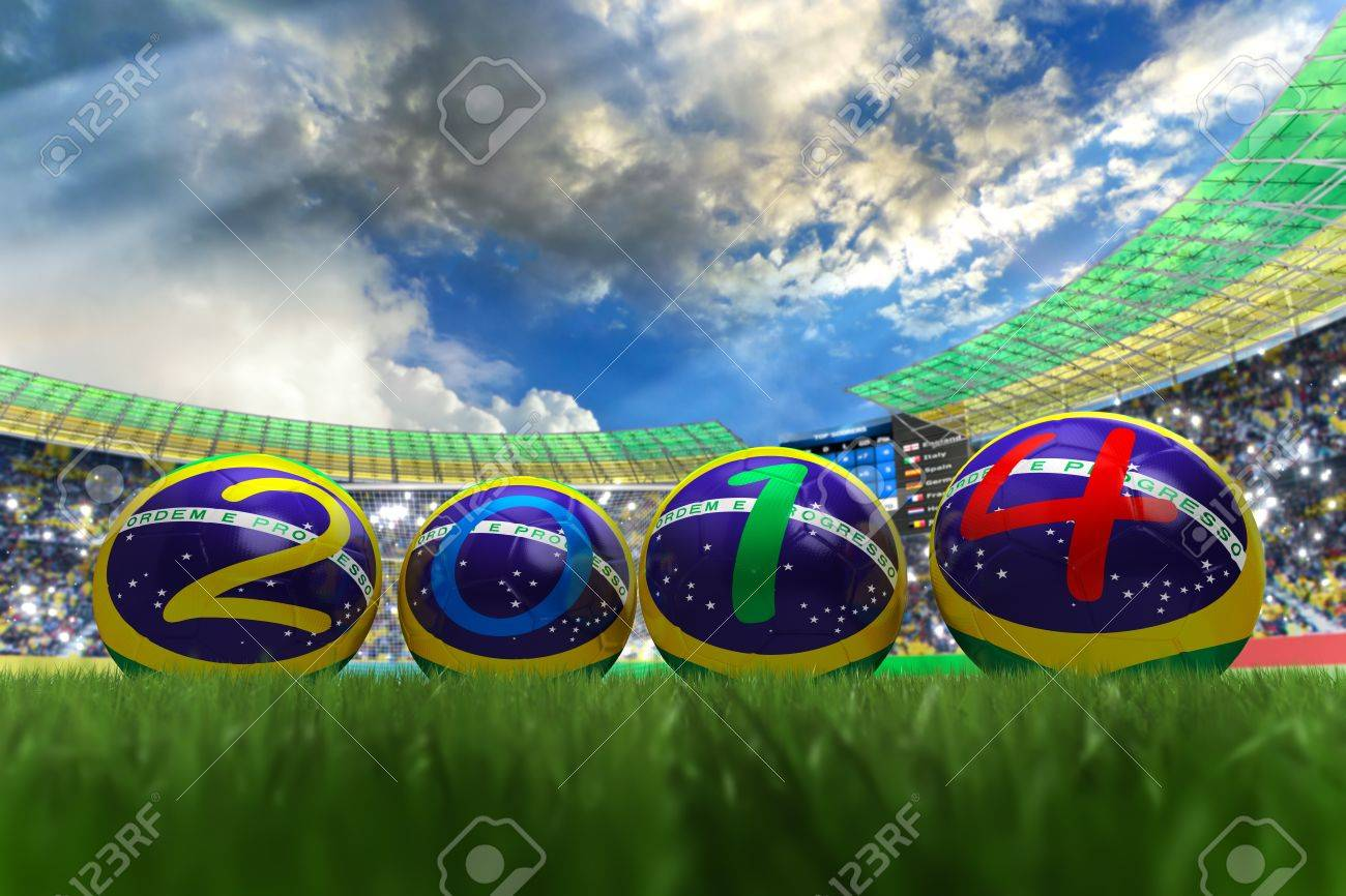 3D rendering of footballs in the year 2014 in a football stadium Stock Photo - 18836911