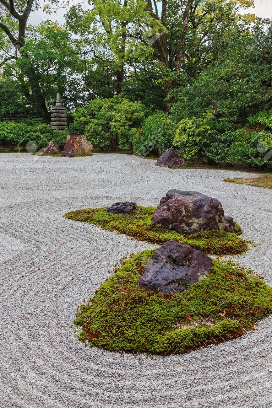 Zen Garten In Kennin Ji Tempel In Kyoto Japan Lizenzfreie Fotos