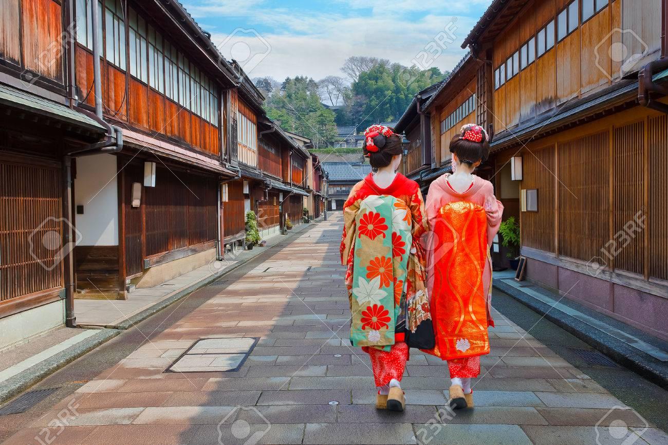 Japanese Geisha at Higashi-Chaya-gai - Geisha District in Kanazawa, JapanKANAZAWA, JAPAN - NOVEMBER 22 2015: Unidentified Japanese Geisha at Higashi-Chaya-gai - Geisha district - 60953592