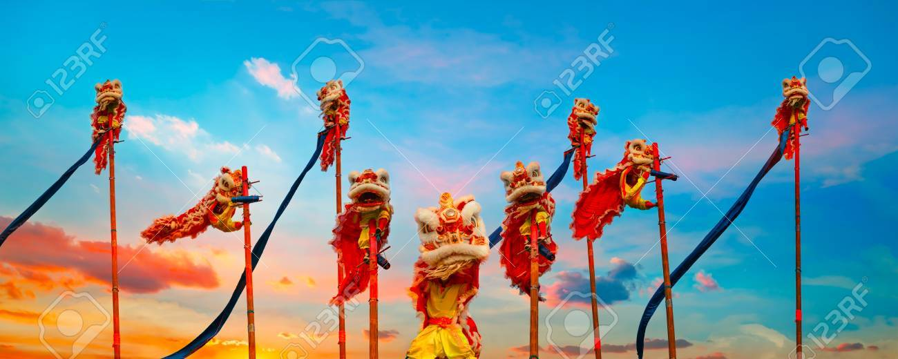 Lion Dance in a Chinese New Year Celebration - 68739799
