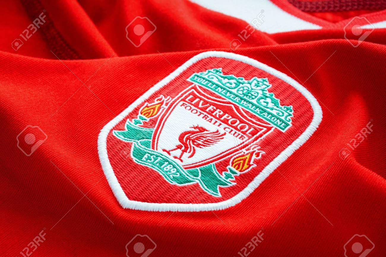 the latest f016f ae60e Bangkok, Thailand - January 17 2019: Close-up of Liverpool FC..