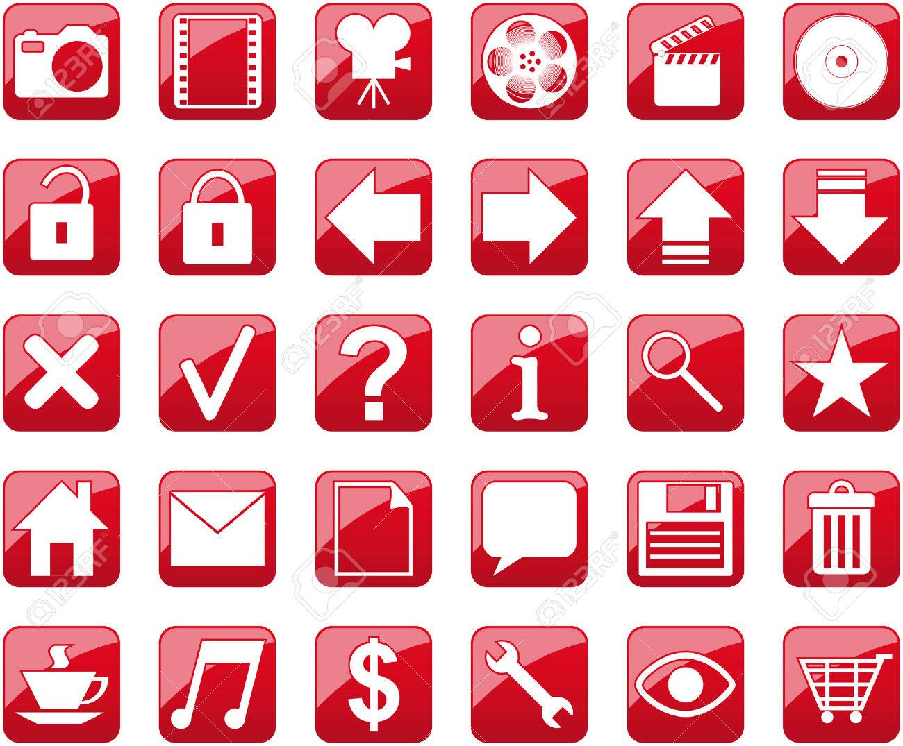 Red Icons Stock Vector - 5500156