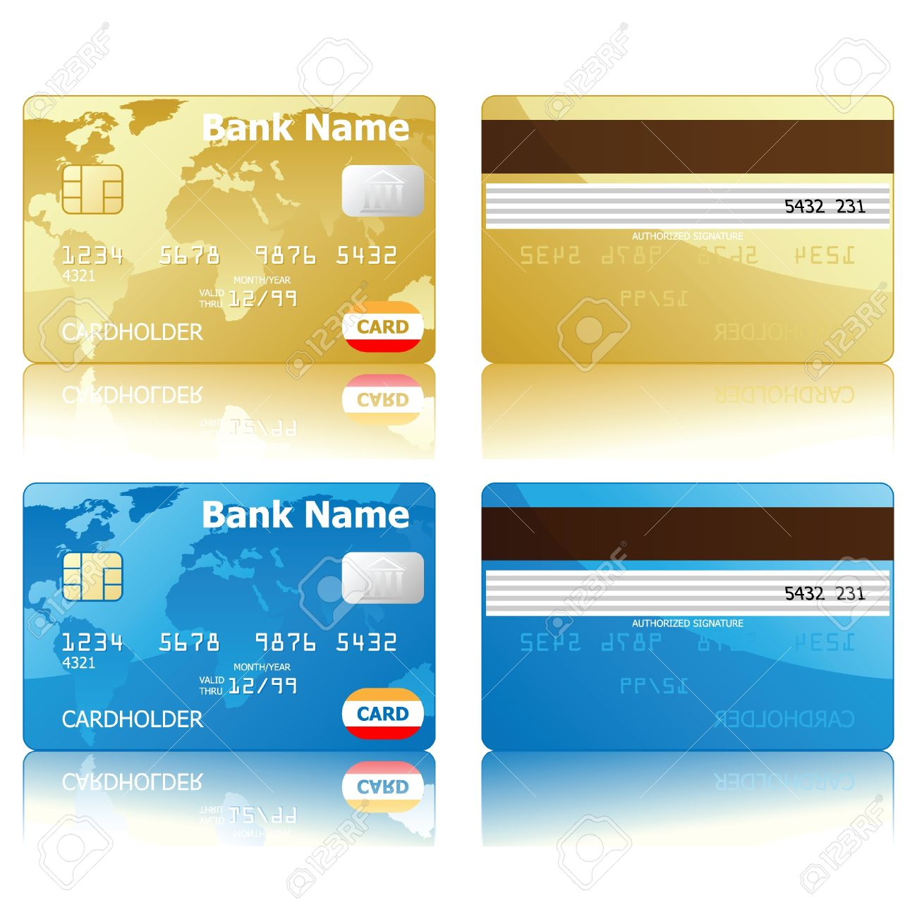 Credit Cards Front And Back View Royalty Free Cliparts Vectors