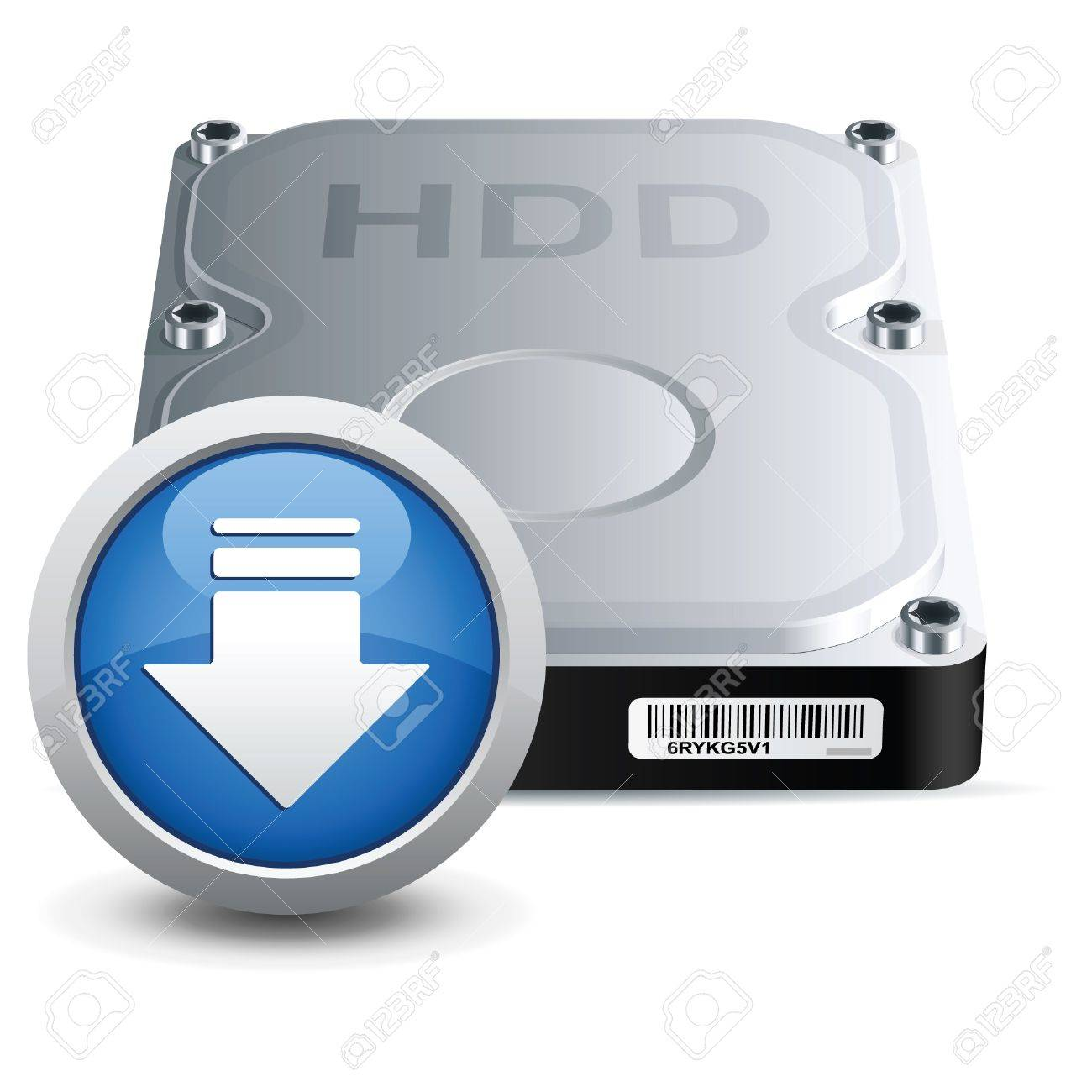 Vector hard disk drive icon with download sign Stock Vector - 17307595