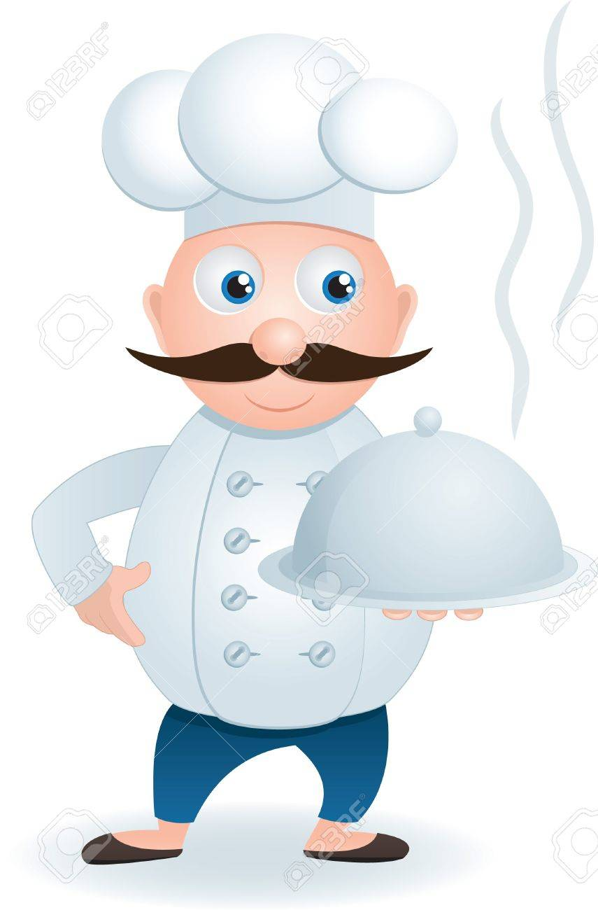 Chef with tray of food in hand, vector EPS 8 Stock Vector - 17307458