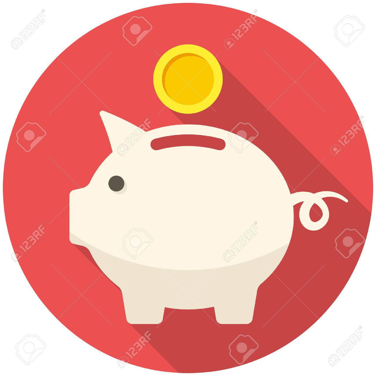 Piggy bank icon (flat design with long shadows) - 33411622