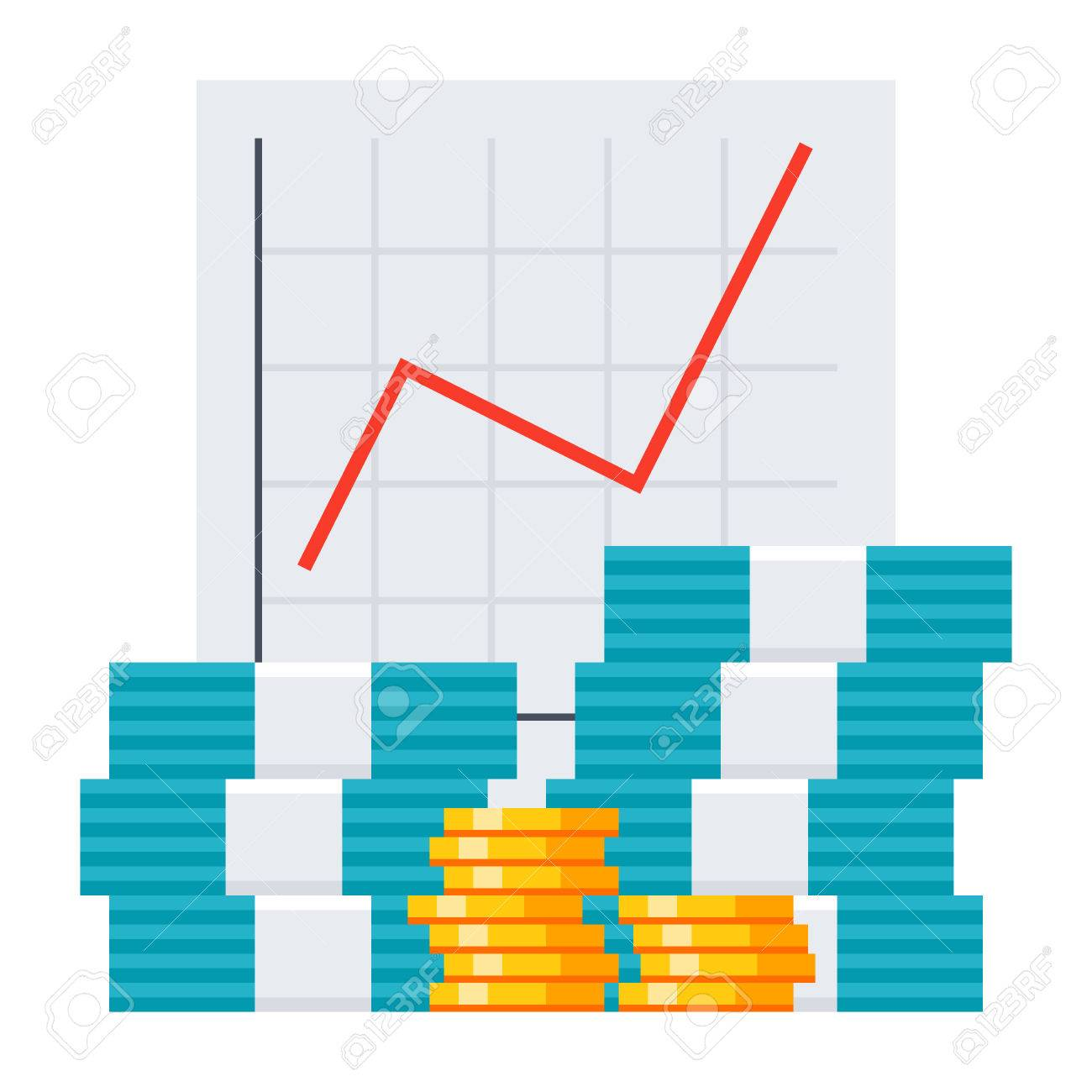 Bookkeeping Concept With Growth Chart And Money Royalty Free