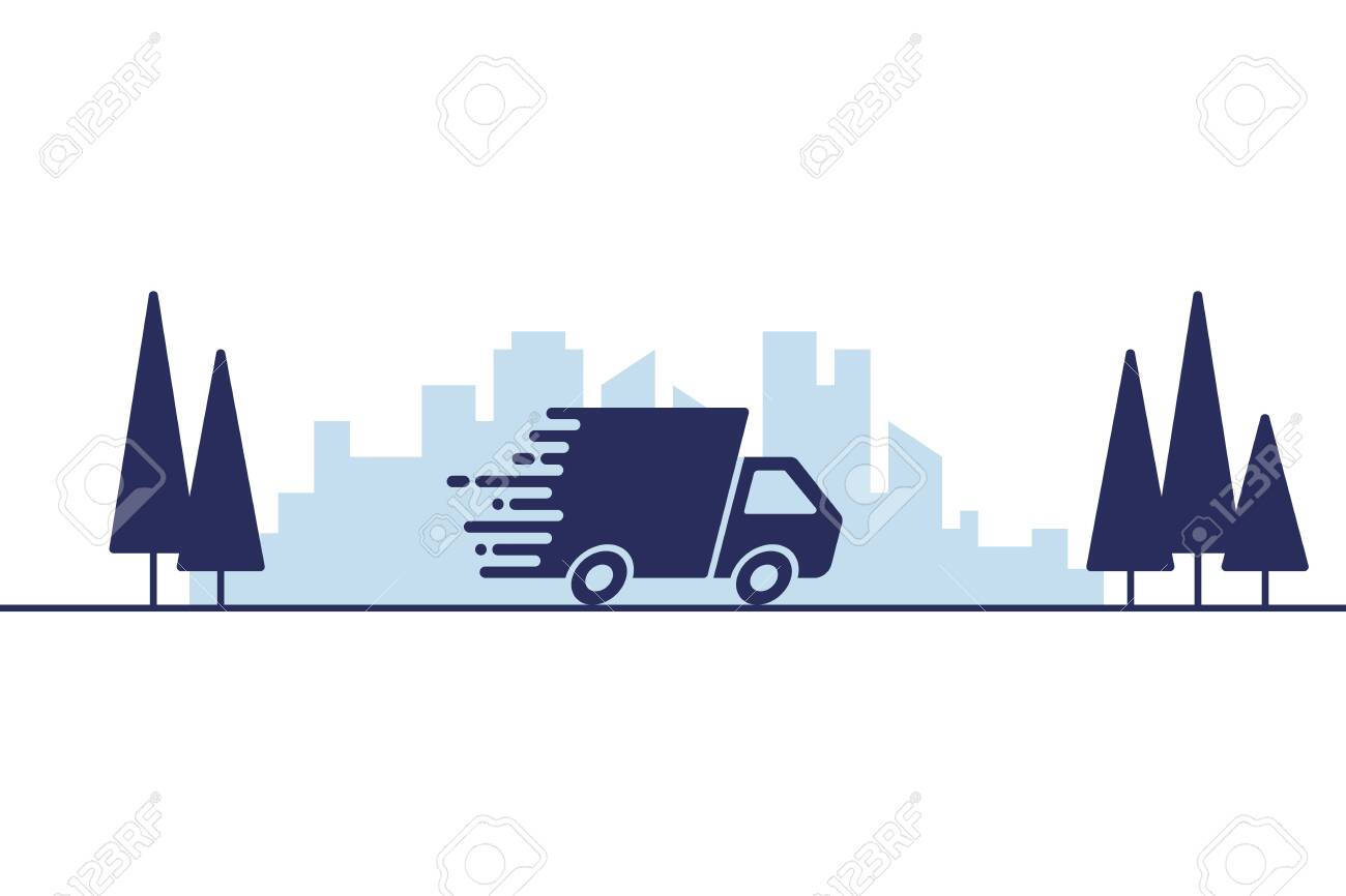 Fast shipping or delivery concept vector illustration - 124305960
