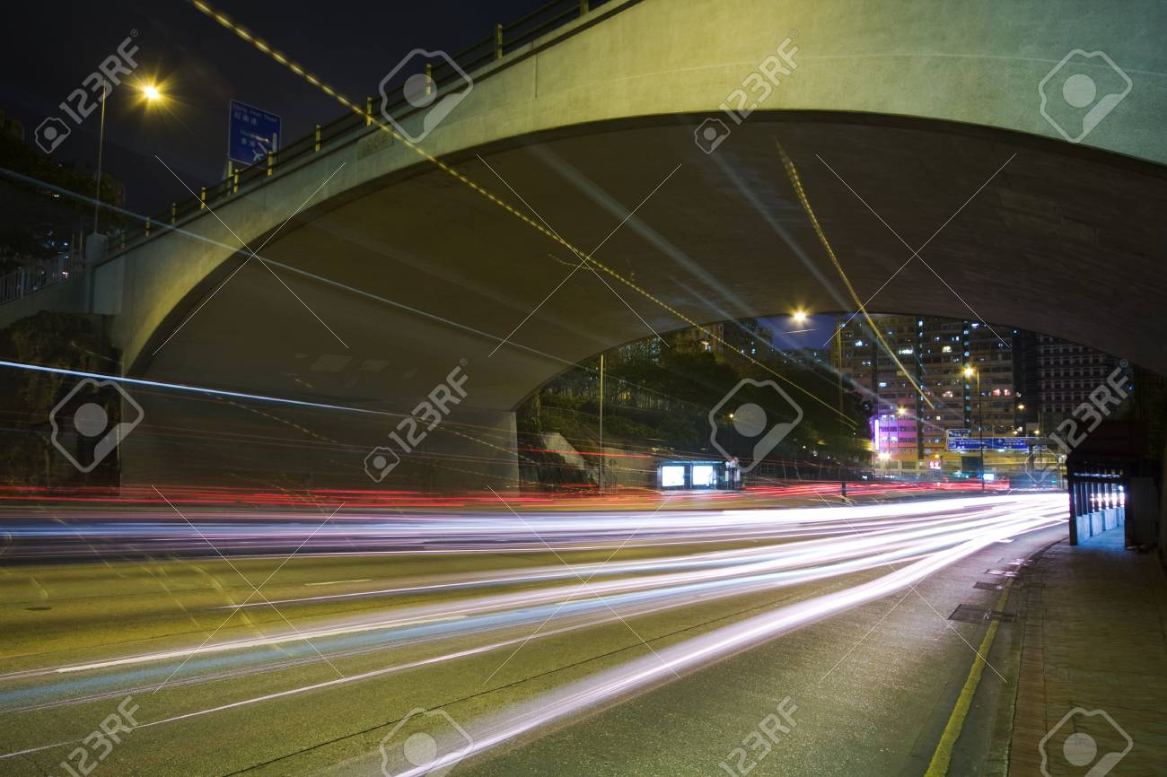 Traffic on the move at night Stock Photo - 7879330
