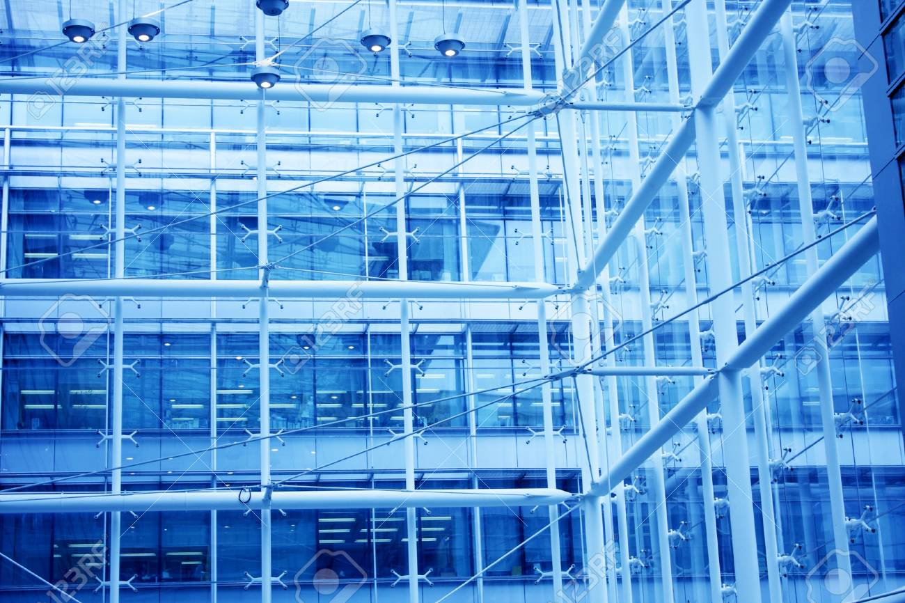 modern building indoor with blue toned Stock Photo - 8937421