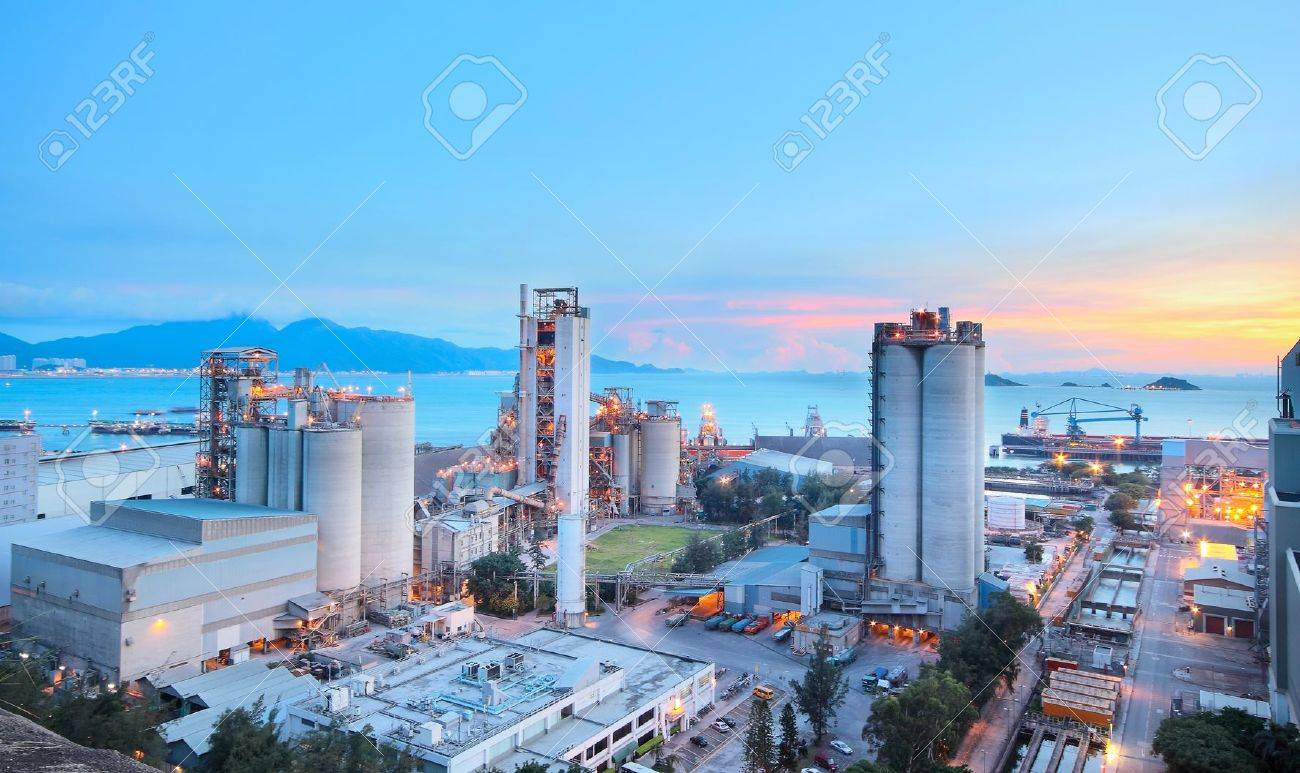 Cement Plant,Concrete or cement factory, heavy industry or construction industry. Stock Photo - 13741940
