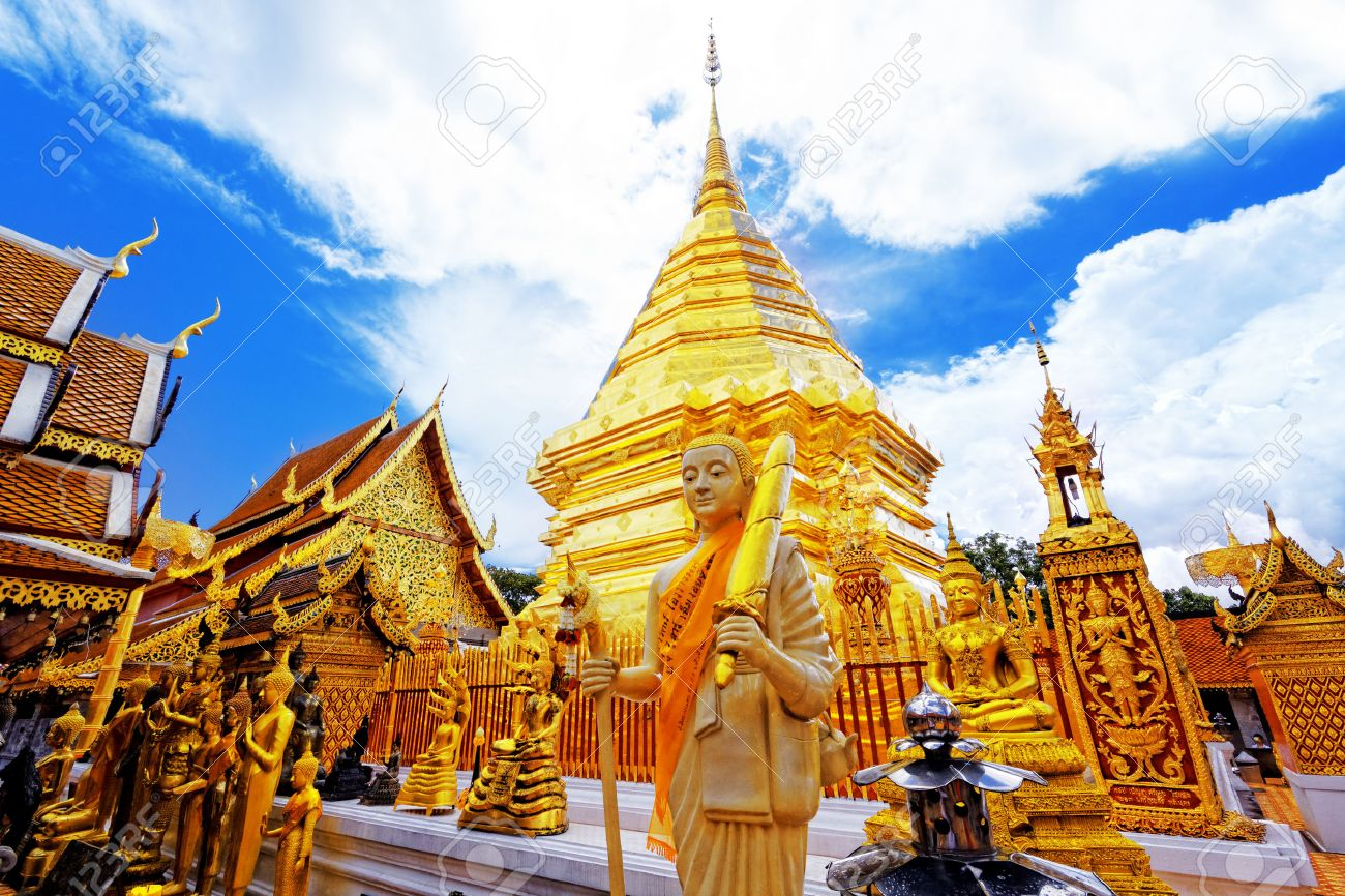 Wat Phra That Doi Suthep is a major tourist destination of Chiang Mai, Thailand. - 26431101