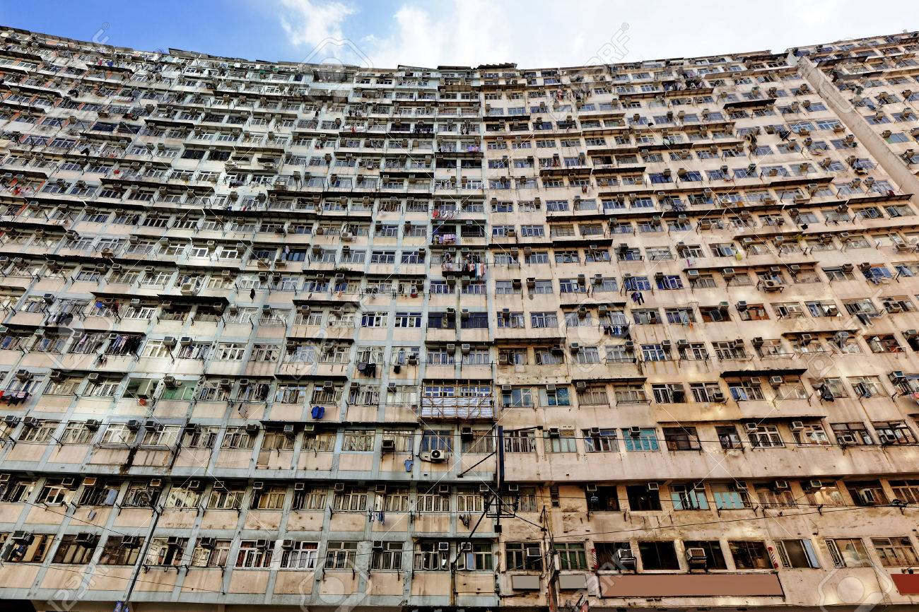 Delightful Old Apartments In Hong Kong. Stock Photo   32755967