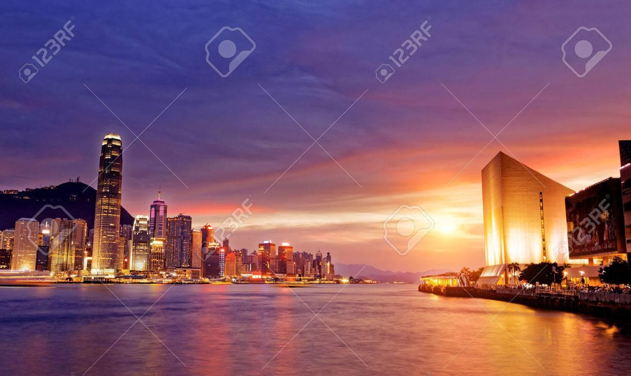 Beautiful HongKong cityscape at sunset, Hong kong city. - 42092354