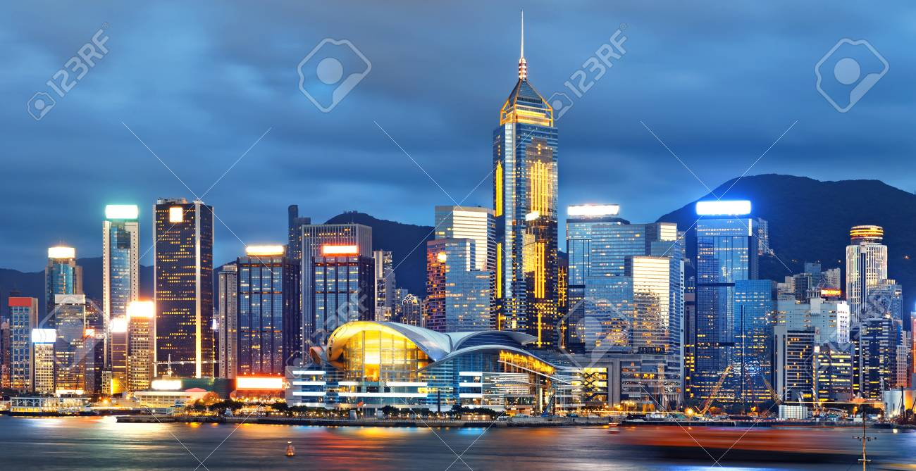 hong kong city skylines at night stock photo picture and royalty