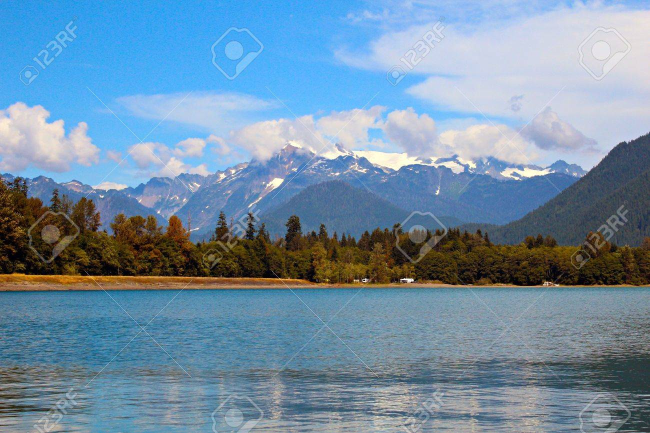 Mt. Shuksan as viewed from accross Baker Lake which is located in Whatcom County in the North Cascades National Park, Washington state. Stock Photo - 15221428