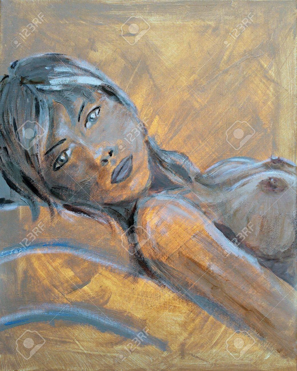 Pintura Al óleo Original De Una Mujer Desnuda En Posición Reclinada