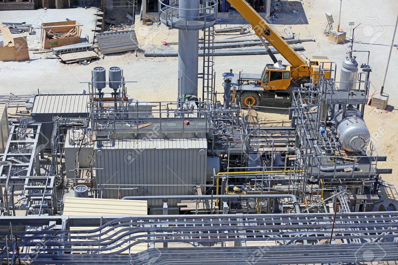 Industrial Construction Of A Power Plant Showing A Package Boiler ...