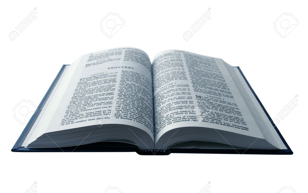 opened bible isolated on pure white background stock photo picture