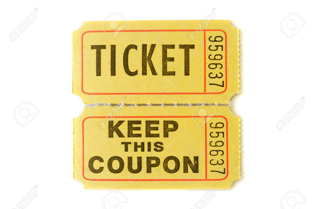 raffle ticket with stub isolated on pure white background stock