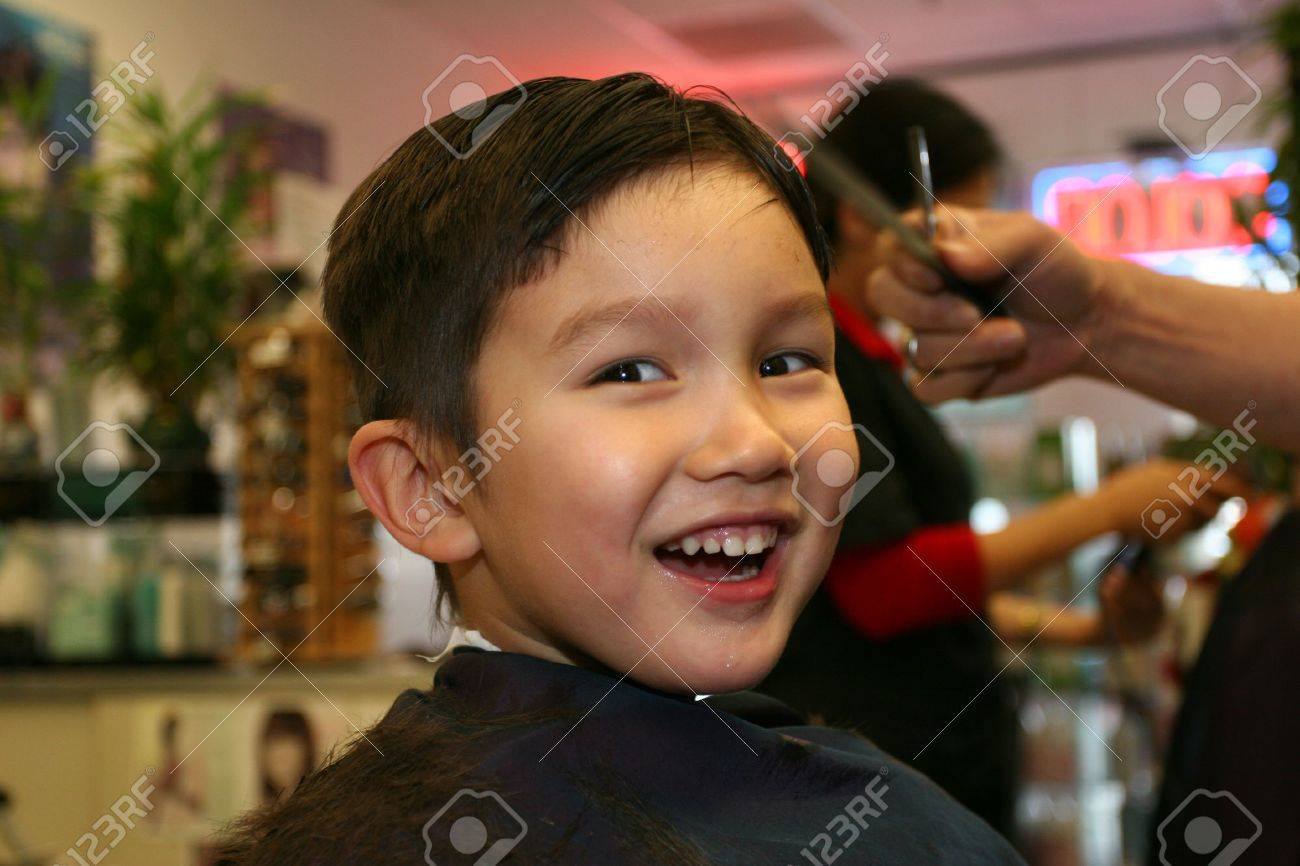 Three and half years old boy having a haircut Stock Photo - 2341219