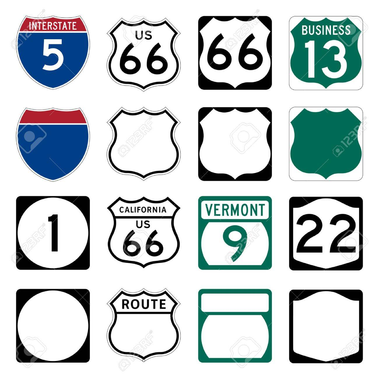 Interstate And US Route Signs Including Famous Route Royalty - Us highway map symbols
