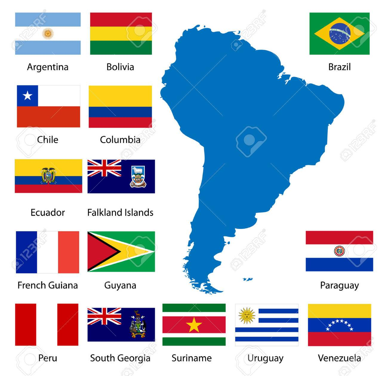 Vector Map Of South America With Flags Stock Vector Image - Sur america map